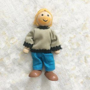 🌿 Wood Rope Doll Toy Bearded Blonde Man Figure